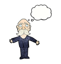 Cartoon disapointed old man with thought bubble vector