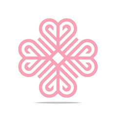 Logo abstract letter pink love combination design vector