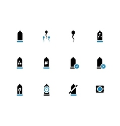 Condoms duotone icons on white background vector