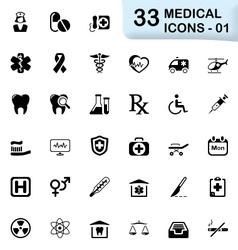 33 black medical icons 01 vector