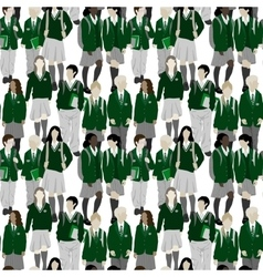 Group of students - seamless pattern vector