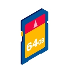 64 gb sd memory card icon isometric 3d style vector