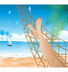 Woman lying in a hammock on the beach vector