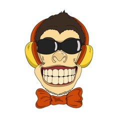 Monkey headphones vector