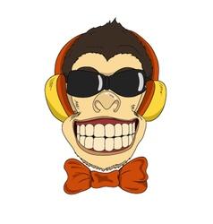 Monkey headphones vector image