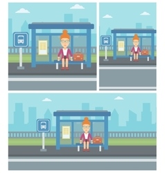 Woman waiting for bus at the bus stop vector