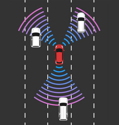 autonomous car top view self driving vehicle vector image