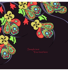 Black background with decorative bright flowers vector image vector image