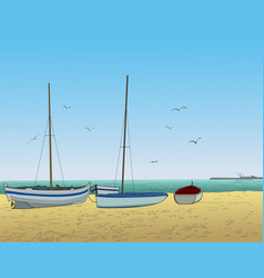 Boats and sea vector