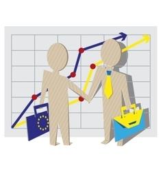 Businessmen of European Union and Ukraine shake vector image