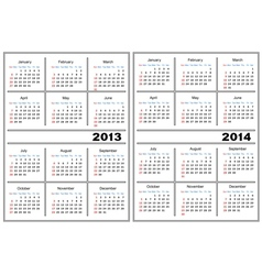 Calendar template 20132014 vector image vector image
