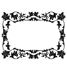 calligraphy penmanship curly baroque frame black vector image vector image