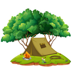 Camping ground with tent and campfire vector
