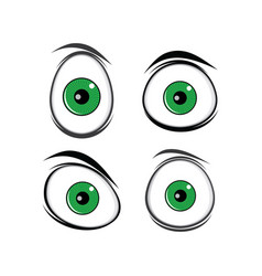 cartoon funny green eyes for comics design art vector image vector image