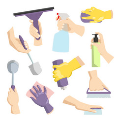 cleaning tools in housewife hand perfect for vector image vector image