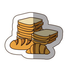 Color various types of bread icon vector