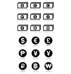 Currency exchange symbols - bank notes and coins i vector image