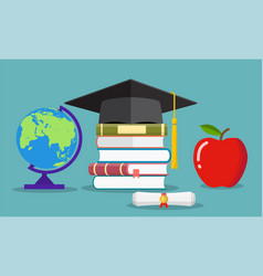 Education concept graduate hat globe books vector