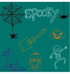 Element halloween cute doodle art vector