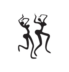 Flat icon in black and white carnival dancers vector