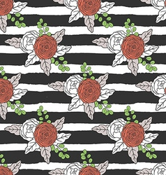 Floral seamless pattern with stripes vector image