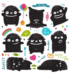 Funny cute little black monster holiday clip art vector