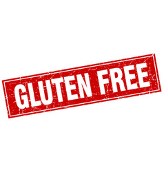 Gluten free red square grunge stamp on white vector