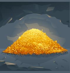 golden treasure in cave vector image