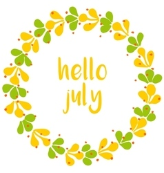 Hello july wreath sunny yellow and green card vector