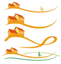 LANDSCAPE HOUSE SET vector image vector image