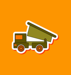 Paper sticker on stylish background kids toy truck vector