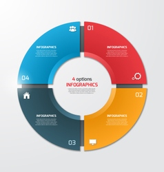 Pie chart infographic template 4 options vector