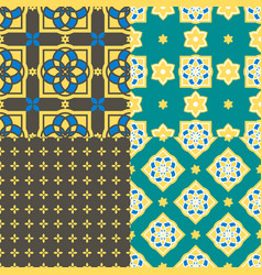 portuguese azulejo tiles seamless patterns vector image vector image