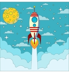 Rocket on the moon background vector image
