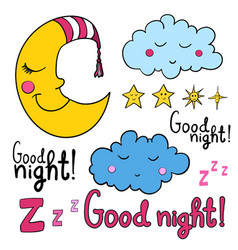 set of cartoon images about good night vector image