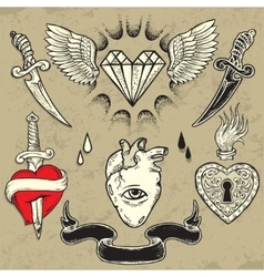 Set of Heart shaped tattoo elements vector image