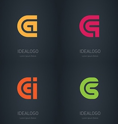 Set of logos with letters C A Q I S Initial vector image vector image