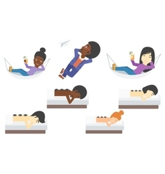 Set of relaxing people and business characters vector