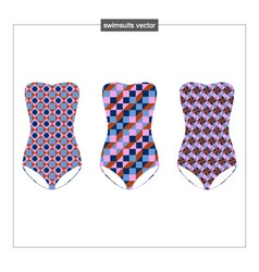 Set of sketches swimwear with a geometrical patter vector
