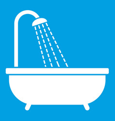 Shower icon white vector