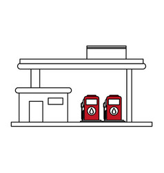 Sketch color silhouette gasoline service station vector