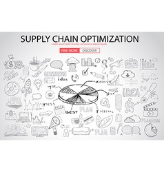 Supply chain optimization concept with doodle vector