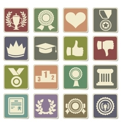 Trophy and prize icon set vector image vector image