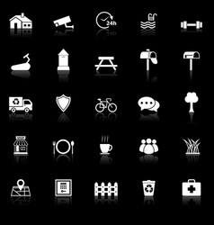 village icons with reflect on black background vector image