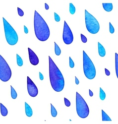 Watercolor painted rain drops seamless pattern vector
