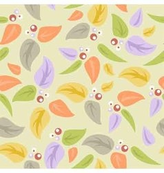 Seamless background with leaves and berries vector