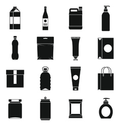 Packaging items icons set simple style vector