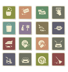 car washer icon set vector image