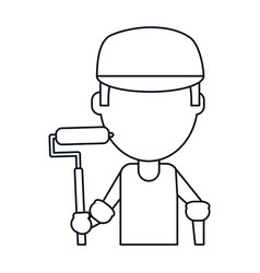Man painter with roller and cap thin line vector