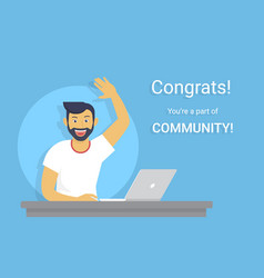 Congratulations you are a part of community vector